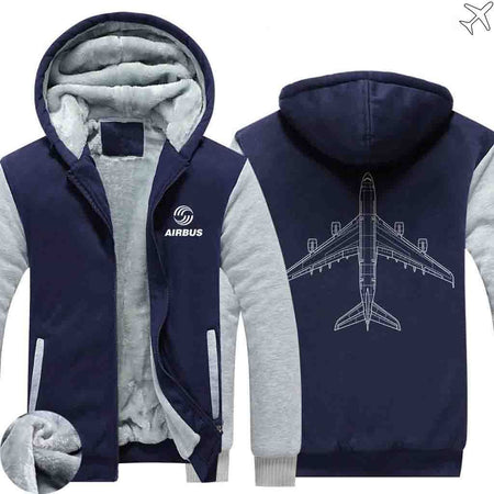 PILOTSX HOODIES Blue / S Airbus A380 Zipper Sweaters