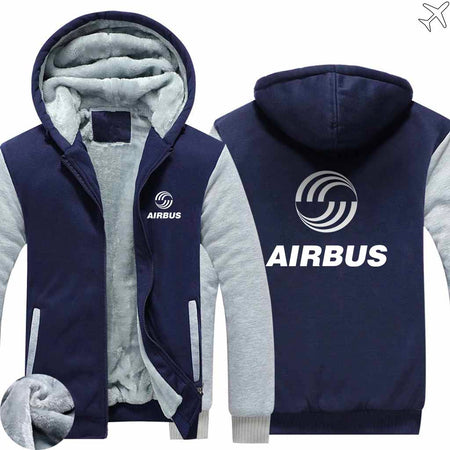 PILOTSX HOODIES Blue / S Airbus Logo Zipper Sweaters