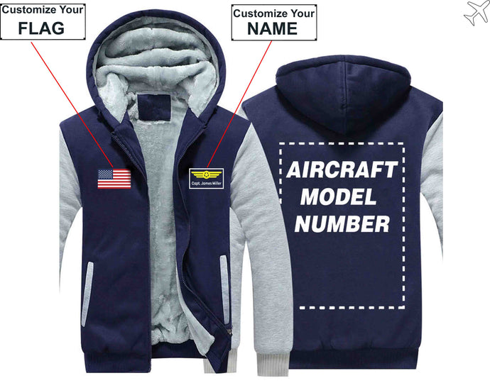 PILOTSX HOODIES Blue / S Custom The Flag & Name with Aircraft Model Number Zipper Sweaters