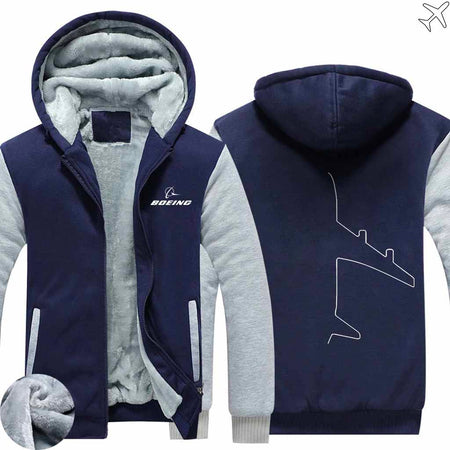PILOTSX HOODIES Blue / S The Boeing  Aircraft Shape Zipper Sweaters