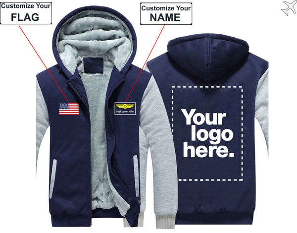 PILOTSX HOODIES Blue / S The CUSTOM  FLAG, LOGO & NAME WITH BADGE DESIGNED Zipper Sweaters