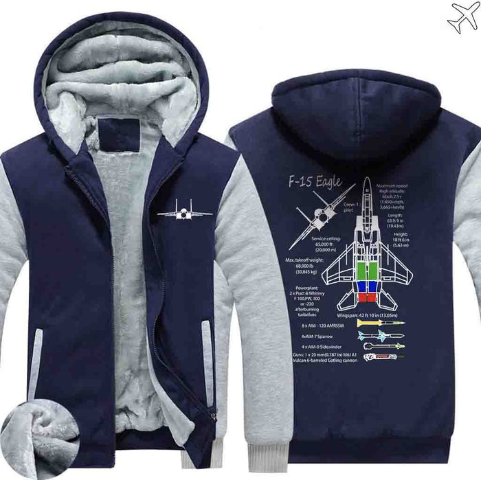 PILOTSX HOODIES Blue / S The F 15 Eagle Hoodies Zipper Sweaters