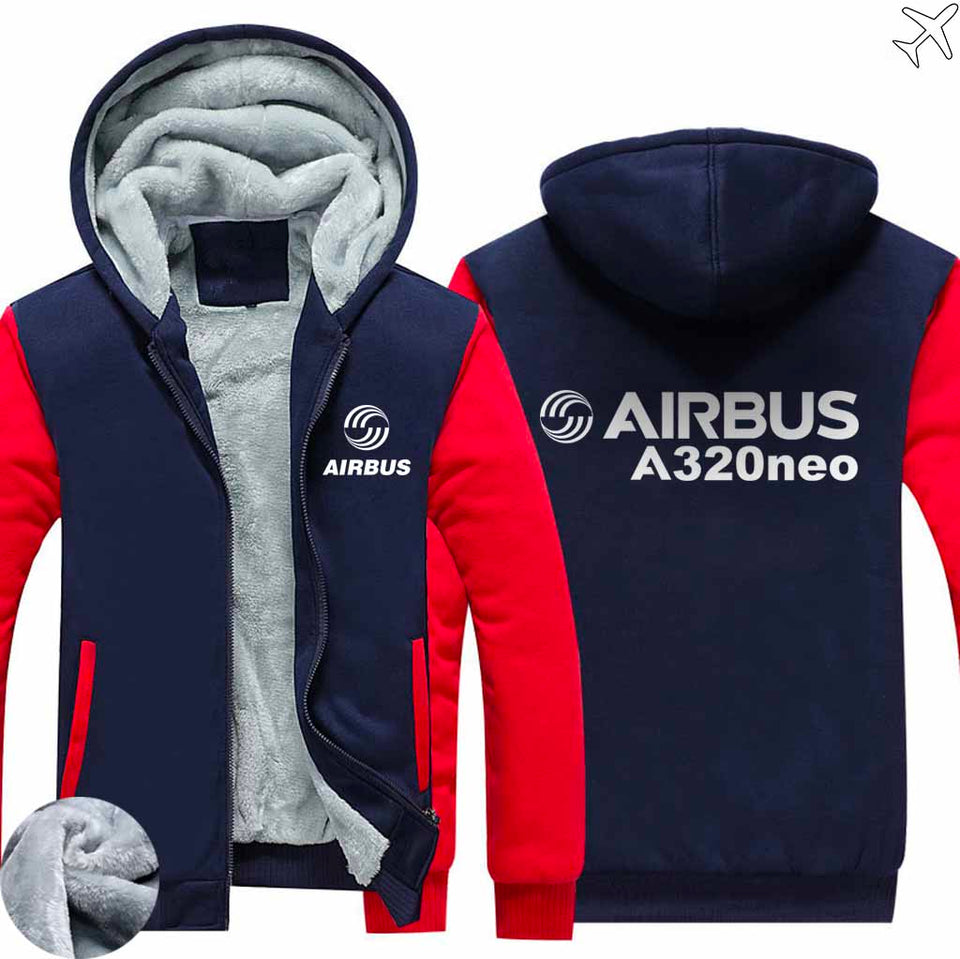PILOTSX HOODIES Red / S Airbus A320neo Zipper Sweaters