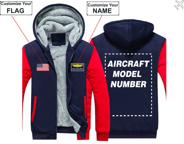 PILOTSX HOODIES Black / S Custom The Flag & Name with Aircraft Model Number Zipper Sweaters