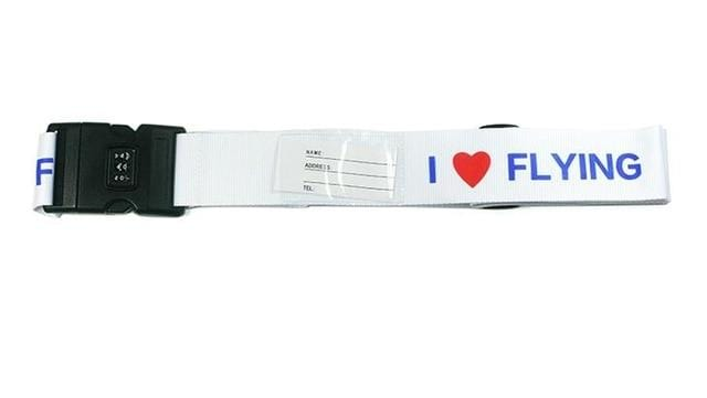 PILOTSX I love flying 1PCS Personality Packing Tape with Password Buckle Luggage Strap