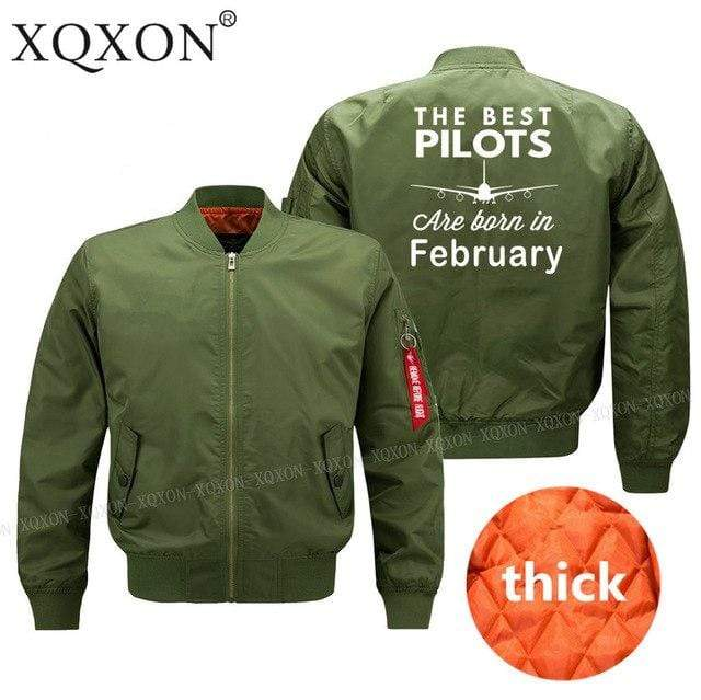 PilotsX Jacket Army green thick / S Best pilots are born in February Jacket -US Size