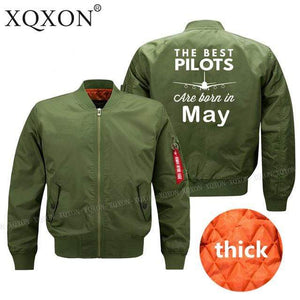 PilotsX Jacket Army green thick / S Best pilots are born in May Jacket -US Size