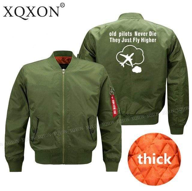 PILOTSX Jacket Army green thick / S Old Pilots Never Die They Just fly higher Jacket -US Size