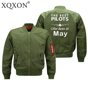 PilotsX Jacket Army green thin / S Best pilots are born in May Jacket -US Size