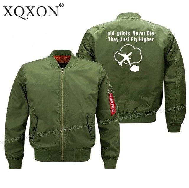 PILOTSX Jacket Army green thin / S Old Pilots Never Die They Just fly higher Jacket -US Size