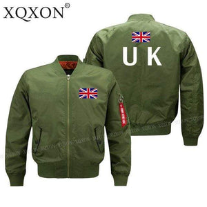 PILOTSX Jacket Army green thin / S United Kingdom flag Jacket -US Size