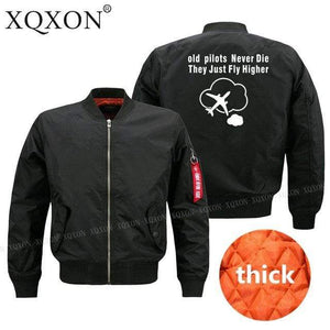 PILOTSX Jacket Black thick / S Old Pilots Never Die They Just fly higher Jacket -US Size