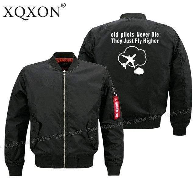 PILOTSX Jacket Black thin / S Old Pilots Never Die They Just fly higher Jacket -US Size
