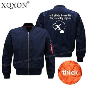 PILOTSX Jacket Dark blue thick / S Old Pilots Never Die They Just fly higher Jacket -US Size
