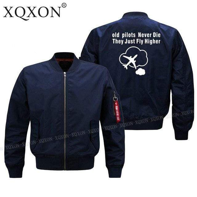 PILOTSX Jacket Dark blue thin / S Old Pilots Never Die They Just fly higher Jacket -US Size