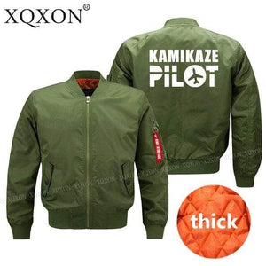 PilotsX Jacket S / Army Green Thick kamikaze pilot Jacket -US Size