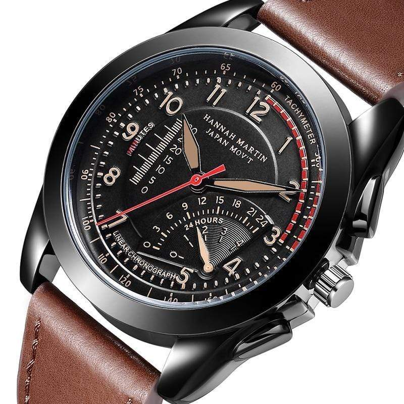 PILOTSX Movement Waterproof Leather Watches