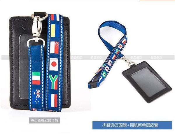 PILOTSX New  Jeppesen Lanyard  with  ID Card Holder in Single Layer One Deck
