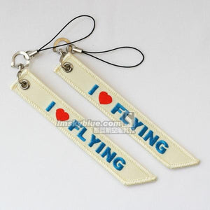 "PILOTSX Pilot   Beige Luggage bag Tag with "" I love flying"" Best Gift for Pilot Aviation Lover"