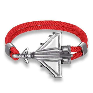 PILOTSX Red D / 23cm Stainless Steel Jet Fighter Bracelets