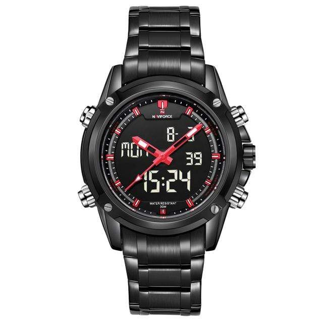 PILOTSX Red Men Military Waterproof LED Sport Watches
