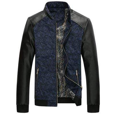 PILOTSX Royal Blue / M Aviation Leather Patchwork Men's Jackets