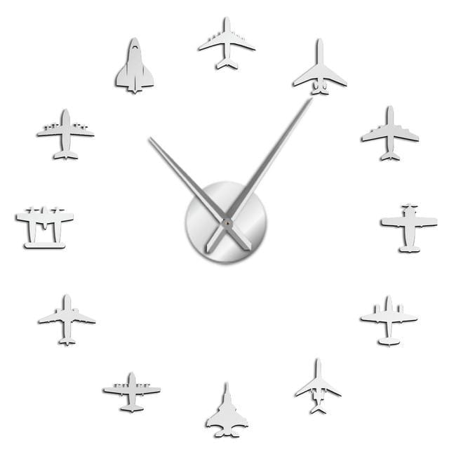 PILOTSX Silver / 37 Inch Flying Plane Fighter Jet Modern Large Wall Clock