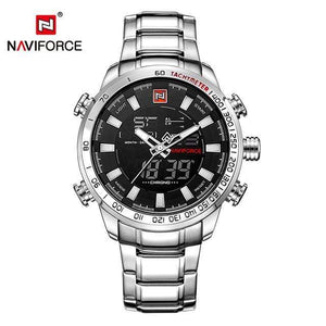 PILOTSX Silver Black NAVIFORCE Luxury Brand Men Military Watches