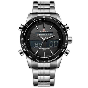 PILOTSX Silver Black NAVIFORCE Men Fashion Sport Watches