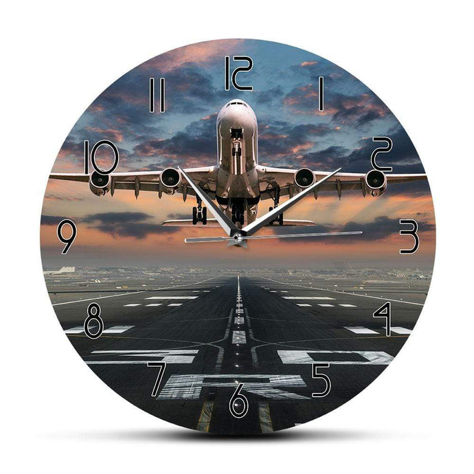 PILOTSX Wall Clock Airplane Taking Off Aviation Pilot Wall Clock