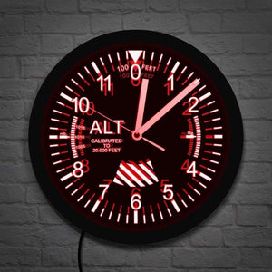 PILOTSX Wall Clock Altimeter Neon Sign LED Wall Clock