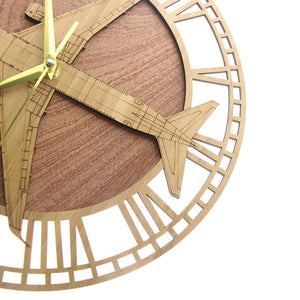 PILOTSX Wall Clock Boeing 767 Aircraft Wooden Wall Clock