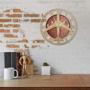 PILOTSX Wall Clock Boeing KC-135 Stratotanker Military Warplane Wooden Wall