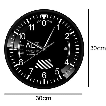 PILOTSX Wall Clock No Frame Classic Altimeter Round Wall Clock