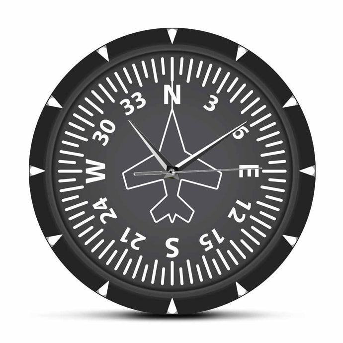PILOTSX Wall Clock Directional Gyro Compass Flight Instrument Modern Wall Clock
