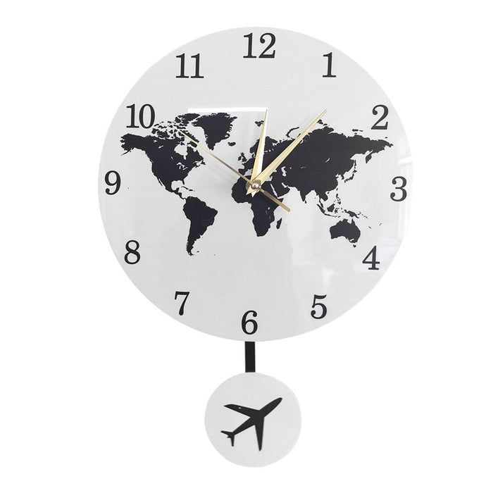 PILOTSX Wall Clock Earth Globe World Map Pendulum Clock With Flying Plane