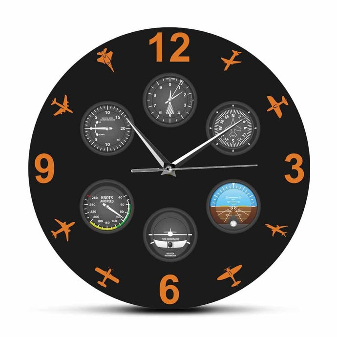 PILOTSX Wall Clock Flight Instrument with Military Aircrafts Wall Clock