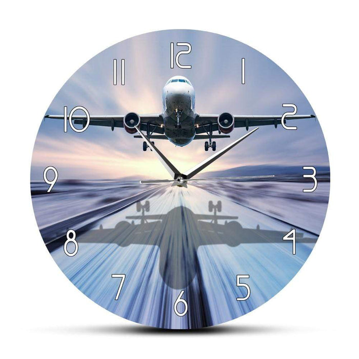 PILOTSX Wall Clock Landing of The Passenger Plane Modern Wall Clock