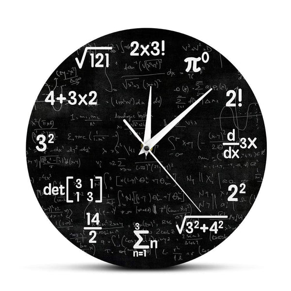 PILOTSX Wall Clock Math Equations and Notations Mathematics Chalkboard Geek Wall Clock