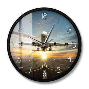 PILOTSX Wall Clock Metal Frame A340 Commercial Jetliner Wall Clock