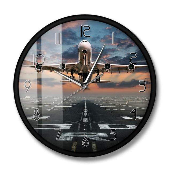 PILOTSX Wall Clock No Frame Airplane Taking Off Aviation Pilot Wall Clock