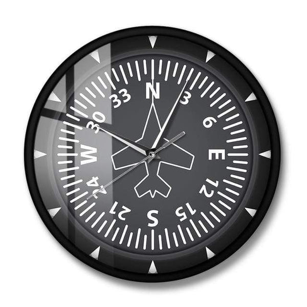PILOTSX Wall Clock No Frame Directional Gyro Compass Flight Instrument Modern Wall Clock