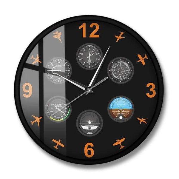 PILOTSX Wall Clock No Frame Flight Instrument with Military Aircrafts Wall Clock