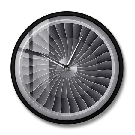 PILOTSX Wall Clock No Frame Jet Engine Turbine Fan Aviator Wall Clock
