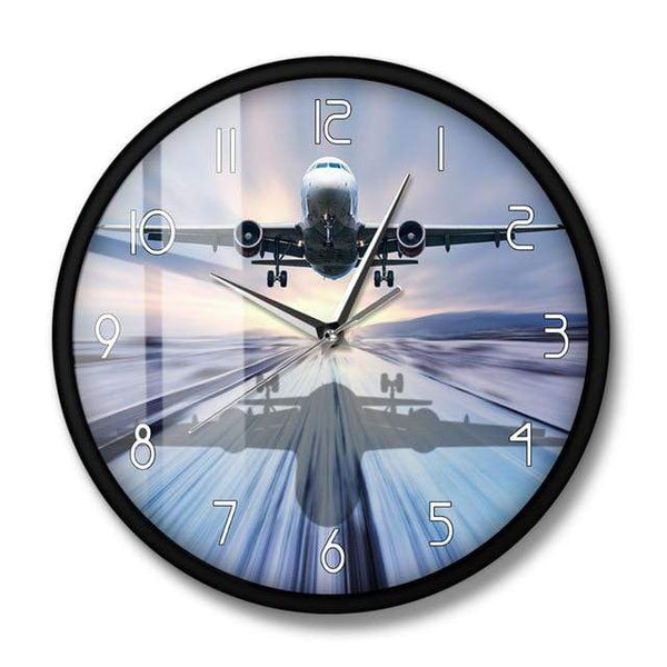PILOTSX Wall Clock No Frame Landing of The Passenger Plane Modern Wall Clock