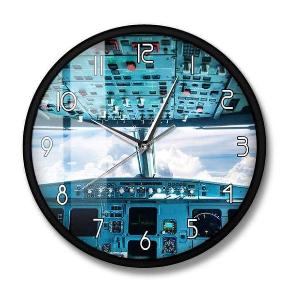 PILOTSX Wall Clock No Frame Plane Cockpit Print Wall Art Decorative Wall Clock