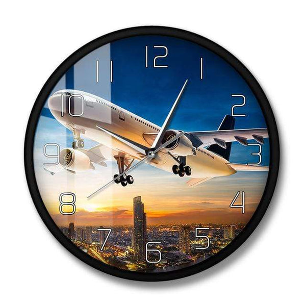 PILOTSX Wall Clock No Frame Take Off Sunset