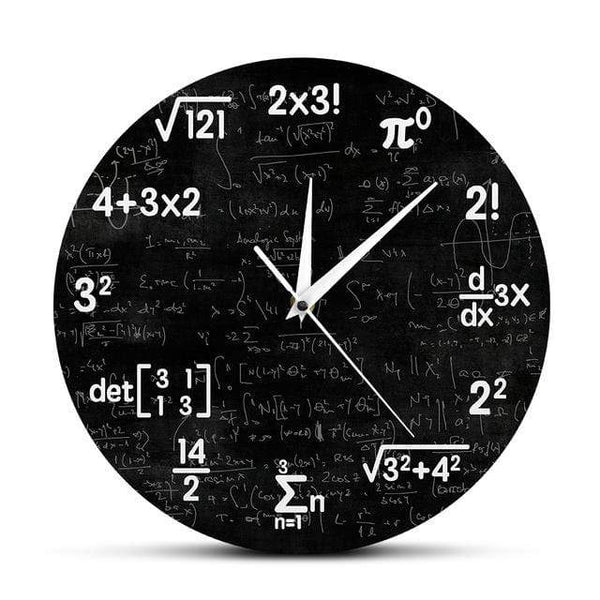 PILOTSX Wall Clock Metal Frame / CHINA Math Equations and Notations Mathematics Chalkboard Geek Wall Clock