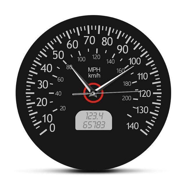 PILOTSX Wall Clock Metal Frame Speedometer Kilometers and Miles Printed Wall Clock