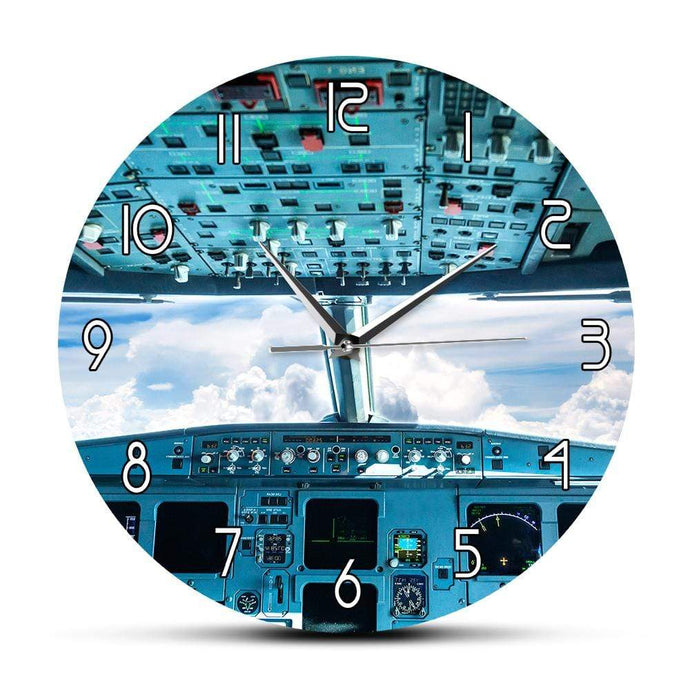 PILOTSX Wall Clock Plane Cockpit Print Wall Art Decorative Wall Clock